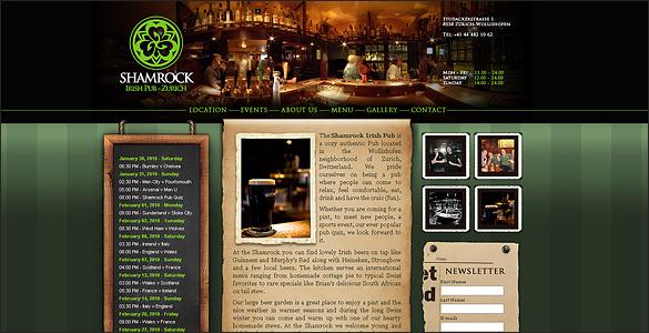 Shamrock Irish Pub Website Template