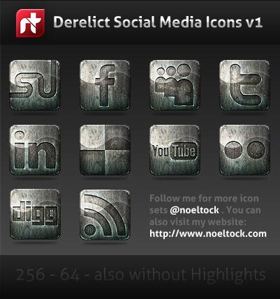 Grunge Social Media Icons Set