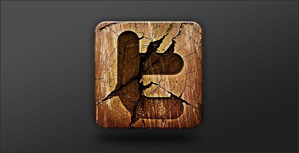 grunge wooden twitter icon